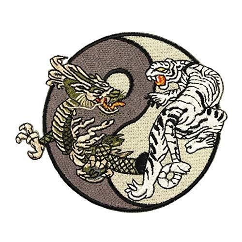 - Dragons - Mystical Grey & Black Tiger and Dragon Yin Yang Logo Patch