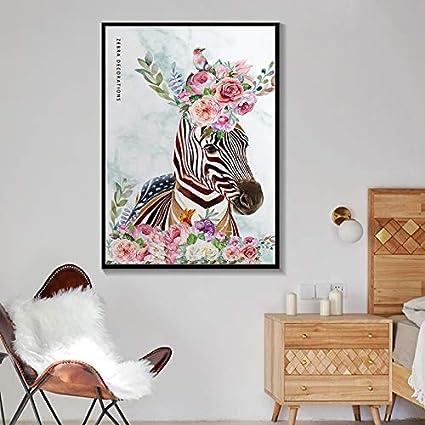 YuanMinglu Nordic Wall Art Lienzo Pintura Animal Poster Abstracto Cebra y Flor y pájaro Mural Sala de Estar decoración del hogar Pintura sin Marco 50x75cm