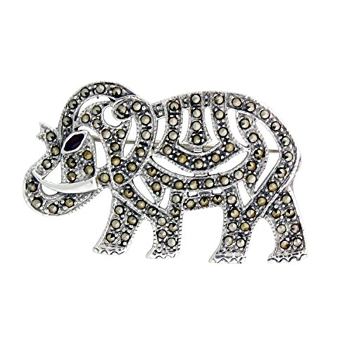 Sterling Silver Marcasite, Garnet Eye Elephant Pin-Pendant