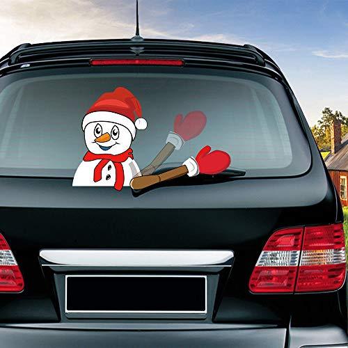 Christmas Windshield Sticker Waving Arm Santa Claus Window Decals Rear Car Vehicle Wiper Sticker Gift (Snowman)
