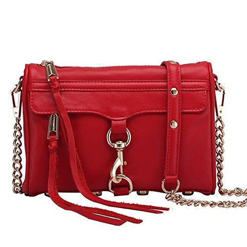 Sunbobo Correas de Hombro de Cadena de Bloqueo Retro Simple Bolso de Hombro de Cuero Cuadrado Bolsa de Mensajero, Rojo