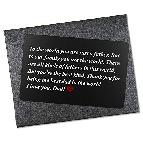 Vanfeis Black Metal Engraved Wallet Insert Card Men Present - Funny Dad Gifts for Fathers Day, Birthday, Christmas from Daughter, Son or Wife - Best Dad Ever Unique Gift Ideas for Him Daddy from Kids (Best Dad Presents 2019)