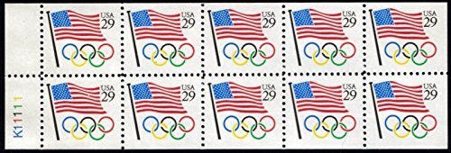 1991 Flag & Olympic Rings Booklet Pane of 10 x 29 Cent Stamps Scott 2528a