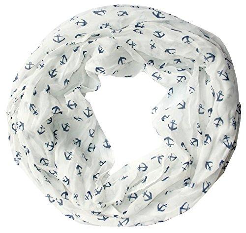 Anker Marine Damen Loop Schal aus hochwertiger Seide & Baumwolle (weiß)