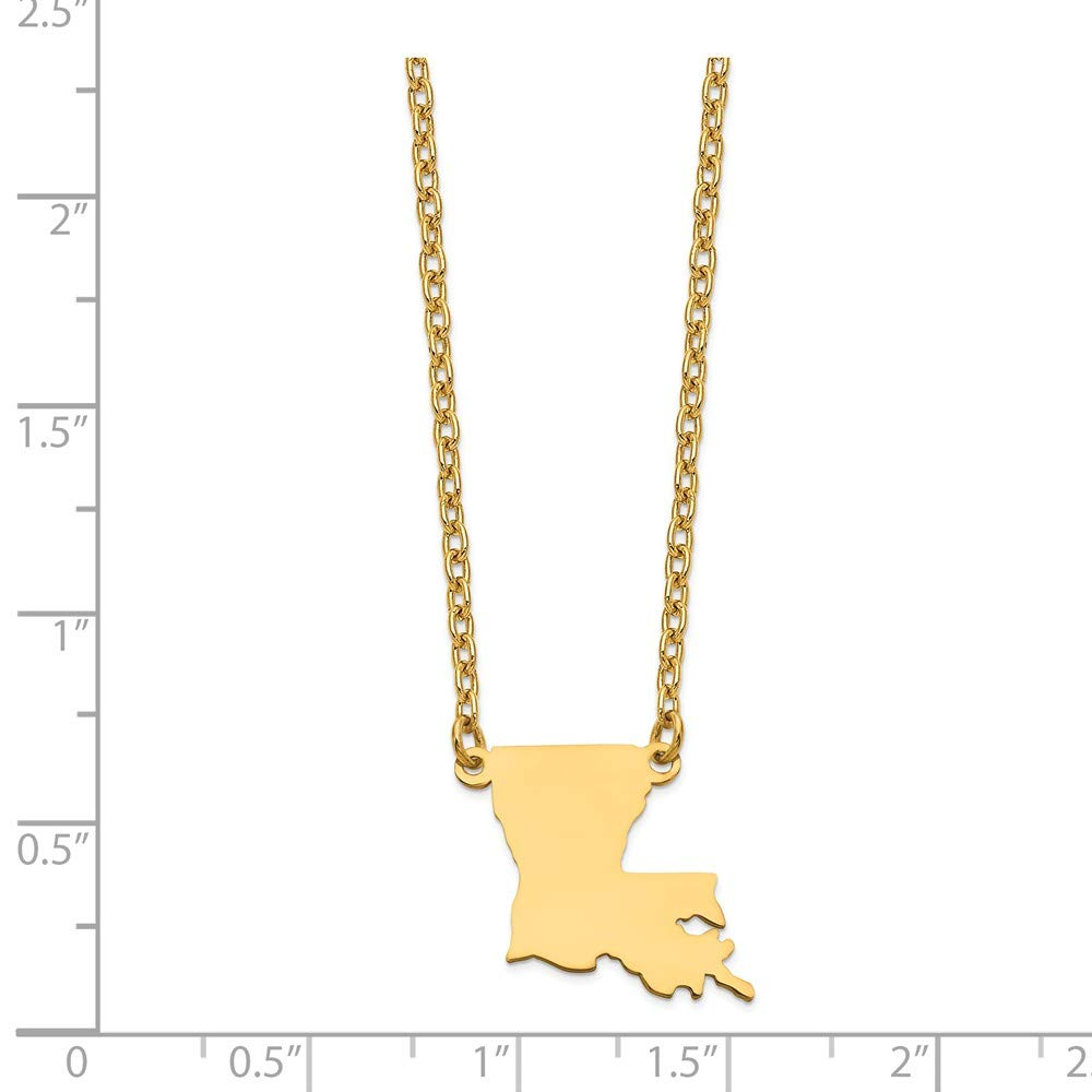 18mm Jewel Tie Gold-Toned LA State Pendant with chain