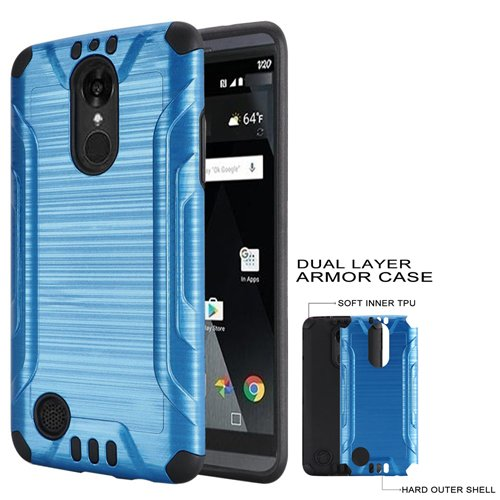 official photos 453fc c70a9 Phone Case for Tracfone LG Rebel-3 L158VL, L157BL (Straight Talk) Brush  Dual-Layered Cover (Combat Brush Blue-Black TPU)