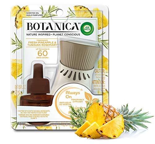 Botanica by Air Wick Plug in Scented Oil Starter Kit, 1 Warmer + 1 Refill, Fresh Pineapple and Tunisian Rosemary, Air…