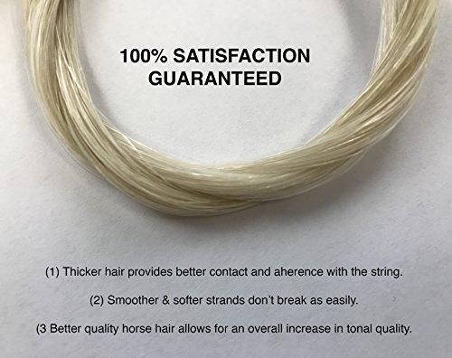 MI&VI Top-Grade Platinum Mongolian Horse Hair for Violin, Viola, Cello Bows - Unbleached, White 30.5'' (1 Hank, Prepared, Includes 2 Plugs and 1 Wedge) (Platinum - 1 Hank) by MI&VI (Image #2)
