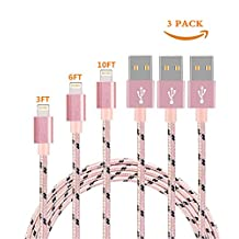 Lightning Cable,Nylon Braided Long Cord Fast Charging USB Sync Charger Cables for iPhone 7/7 plus/SE/6/6 Plus/6s/6s Plus/5/5c/5s/SE, iPad Mini, Air, iPad 6, iPod. (Camo) (Pink 3Pack 3FT+6FT+10FT)