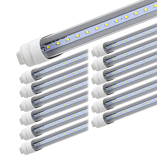 T8 T10 T12 LED Light Tube, 8foot 45W R17d (Replacement for F96T12/CW/HO 100W), Rotating Base 8Ft Shop Light Bulb, 6000K Cool White, 4800LM, Clear Lens, Dual-Ended Power, 12-Pack