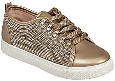 MVE Shoes Womens Stylish Comfortable Lace Up Rhinestone Sneakers Gold Size: 6