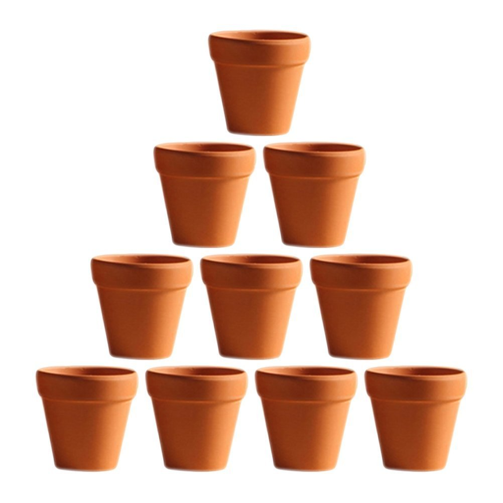 BESTOMZ 10 Pcs Mini Clay Pots 1.2'' Terracotta Pot Clay Ceramic Pottery Planter Cactus Flower Pots Succulent Nursery Pots- Great for Plants,Crafts,Wedding Favor