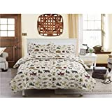 1pc Deer Bear Southwest Hunting Themed Quilt Full Queen, Country Lodge Bedding Fish Moose Canoe Cabin Trees White Color Log Cottage Outdoors Pattern Nature White Brown Green, Polyester