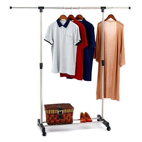 SUNPACE Garment Rack Stainless Steel Adjustable Single Rail Rolling Clothing Rack, Extendable Hanging Rack
