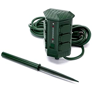 Outdoor Power Stake by BESTTEN, 15 Foot Waterproof Long Extension Cord, 6 Outlet Power Strip Weatherproof with Photocell Digital Countdown Timer, for Christmas Decoration and Holiday Light, Green