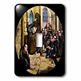 Scenes from the Past Magic Lantern - Vintage Medieval Friars in Cathedral Christianity Magic Lantern Slide - Light Switch Covers - single toggle switch (lsp_246067_1)