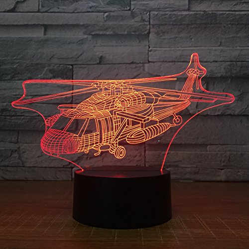 - Circle Helicopter Shape 3D Optical Illusion Lamp 7 Colors Change and 15 Keys Remote Control LED Night Light Toys for Children Kids