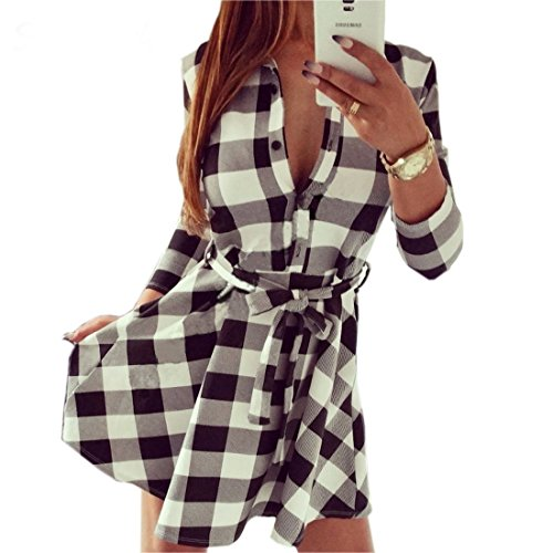 Leisure Vintage Dresses summer Women Plaid Check Print Spring Casual Shirt Dress Summer style(Medium, (Pretty Dresses For Teens)