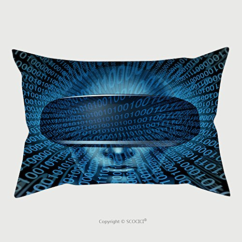 Custom Microfiber Pillowcase Protector Virtual Reality Concept As A Gamer Wearing Vr Glasses Or Goggles With Digital Binary Code As A 437543524 Pillow Case Covers Decorative