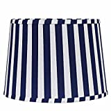 Home Collection by Raghu 0D810052 Cobalt & White Stripe Regular Clip Drum Lampshade, 10''