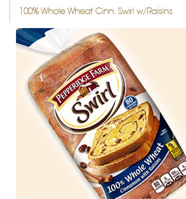 (Pepperidge Farms Swirl Bread, 100% Whole Wheat, Cinnamon Raisin (Pack of 2))