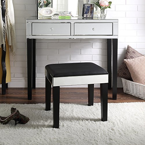 Juliet Frame Accessory - Inspired Home Juliet Modern Contemporary Mirrored 2-Drawer Vanity Table with Stool Set, Black