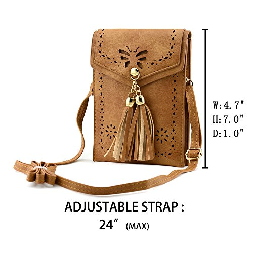 A brown Bausweety Portable Bag Phone woman's Shoulder PU Cell Small Crossbody Leather Bags gqAw7g