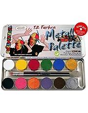 Eulenspiegel 212004 Professionele Aqua make-up, 12 kleuren, 2 professionele kwasten, metalen palet