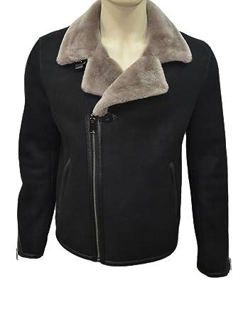 1e8c4e5581727 Zavelio Men s Genuine Shearling Sheepskin Fashionable Rider Winter Jacket  Black Medium