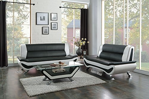"Homelegance Faux Leather Low-Profile Sofa, 78"" W, Black and White"