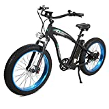 Cheap EGOBIKE Fat Tire Electric Bike Beach Snow Bicycle 4.0 inch Fat Tire 750W ebike Electric Mountain Bicycle with Shimano 7 Speeds Black Lithium Battery Electric Mountain Bicycle … (Blue)