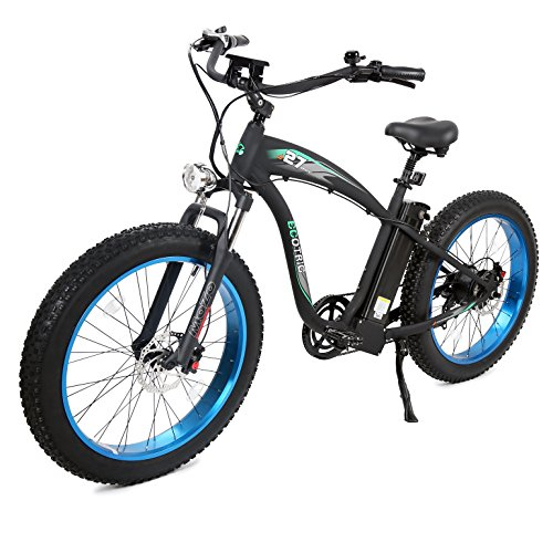 "ECOTRIC Fat Tire Electric Bike Beach Snow Bicycle 4.0 inch Fat Tire 26"" 1000W 48V 13Ah ebike Electric Mountain Bicycle with Removable Black Lithium Battery Electric Mountain Bicycle (Blue Rim)"