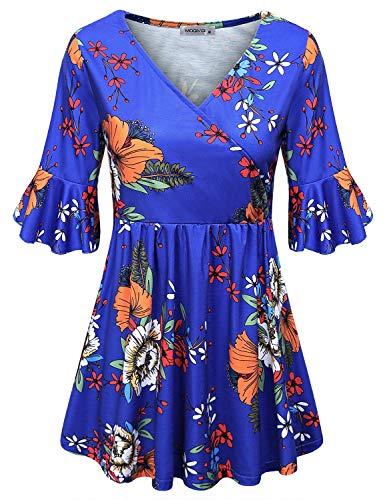 MOQIVGI Flowy Shirts for Women,Chic Elegant Flare Sleeve Blouses Vintage Floral Figure Flattering Crossover V Neck Casual Draped Swing Tops Faux Wrap Empirt Tunics Versatile Clothing Blue XX-Large