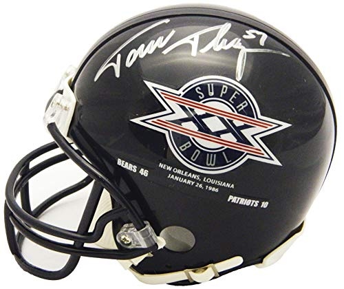 Tom Thayer Signed Chicago Bears/Super Bowl XX Champs Logo Riddell Mini ()