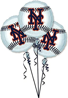 Amscan Exciting New York Mets Balloons Party Decoration 3 Pack 18 Silver