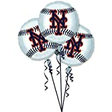 "Amscan Exciting New York Mets Balloons Party Decoration (3 Pack), 18"", Silver"