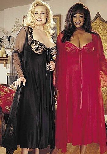 Plus Size Sexy Long Gown Peignoir Set Lingerie -
