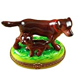 CHOCOLATE LAB WITH PUPPY - LIMOGES BOX AUTHENTIC PORCELAIN FIGURINE FROM FRANCE