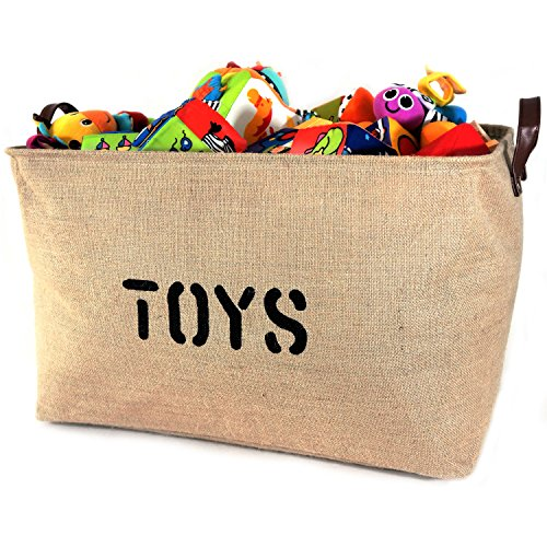 NEW! XXXLARGE Jute Basket 'TOYS' 22'Long x 14' DEEP Storage Bin (Thicker stronger Jute) PU Leather Handles- Storage Baskets for organizing Baby Toys, Kids Toys, Baby Clothing, Gift Baskets