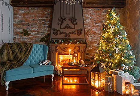 Amazon.com : Baocicco Christmas Tree Fireplace Flame Grunge ...