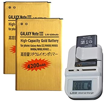 Donkeyphone - Pack 2X BATERIA Interna Gold + Cargador Universal para Samsung Galaxy Note 3 N9000/N9002/N9005/N900 DE Recambio/Repuesto DE Litio con ...