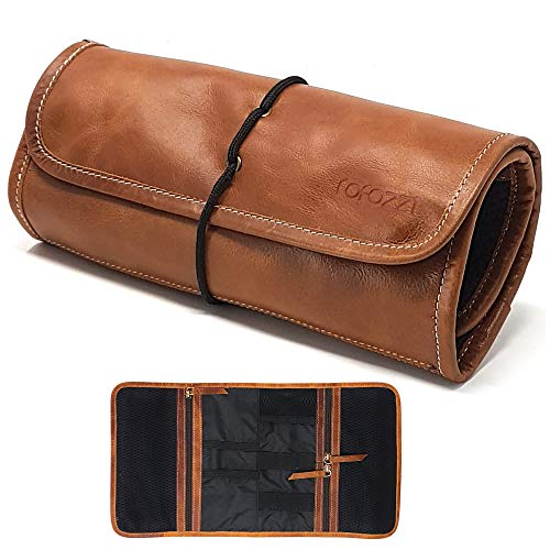 Leather Travel Organizer Bag for Cables, Small Electronics, Passport Holder (Jewelry Roll Leather)