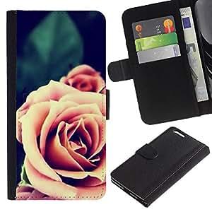 For Apple (5.5 inches!!!) iPhone 6+ Plus / 6S+ Plus Case , Pink Orange Close-Up Blossom - la tarjeta de Crédito Slots PU Funda de cuero Monedero caso cubierta de piel