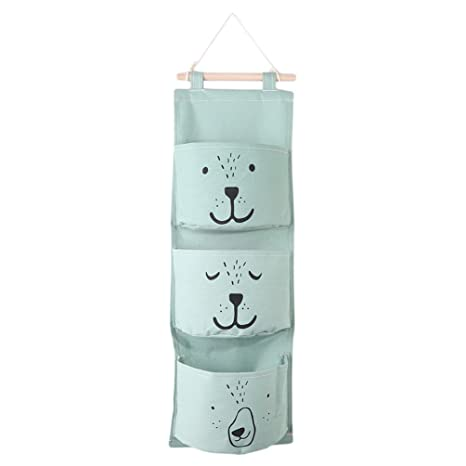 Habitación de los Niños Baby Cama Organizador oso verde menta Distressed Bolsa Utensilo Guardar baño perchero