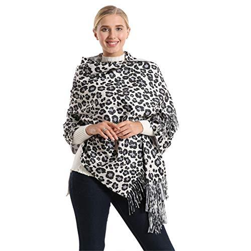 Women's Winter Premium Fashion Leopard Print Infinity Scarf Shawl Wrap With Tassels (07)