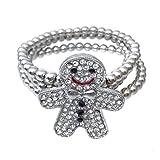 Fun Holiday Christmas Theme Silver Tone Rhinestone Stretch Bracelet (Gingerbread Man)