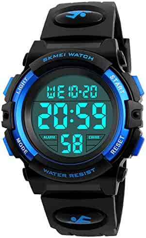 Kid Watch 50M Waterproof Sport LED Alarm Stopwatch Digital Child Wristwatch for Boy Girl Black