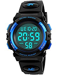 Kid Watch 50M Waterproof Sport LED Alarm Stopwatch Digital Child Wristwatch for Boy Girl Blue