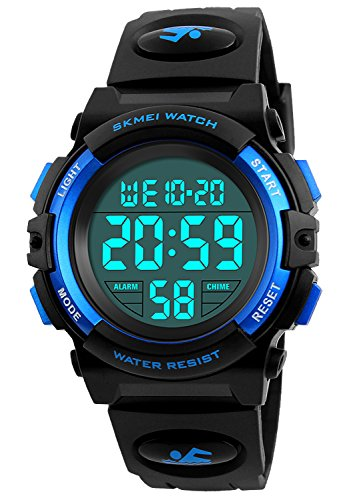 Plastic Transparent Watch (Kid Watch 50M Waterproof Sport LED Alarm Stopwatch Digital Child Wristwatch for Boy Girl Blue)