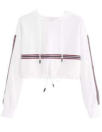 2674a8cf4f Sweat Court a Capuche Femme, Sweatshirt Ado Fille Chic Rayé Sport Pull à La  Mode Automne Sweat-Shirt Manteau Pas Cher Basique Décontracté Pullover Sweat  ...